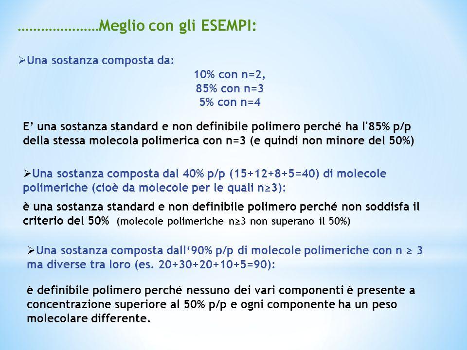 …………………Meglio con gli ESEMPI: Una sostanza composta da: 10% con n=2, 85% con n=3 5% con n=4 E una sostanza standard e non definibile polimero perché h