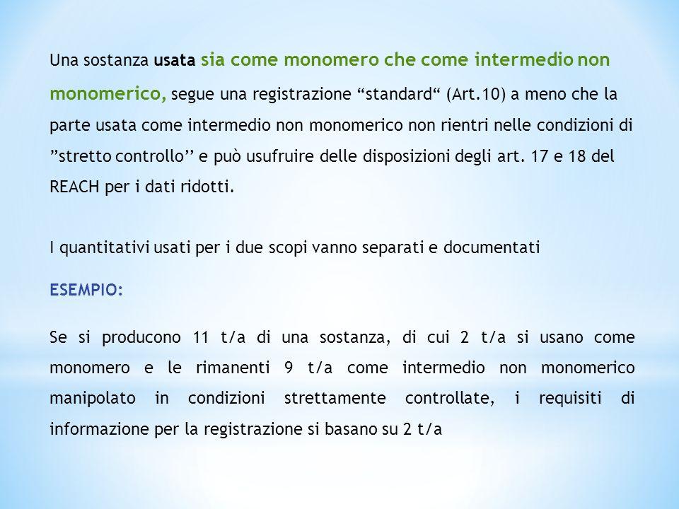 Una sostanza usata sia come monomero che come intermedio non monomerico, segue una registrazione standard (Art.10) a meno che la parte usata come inte