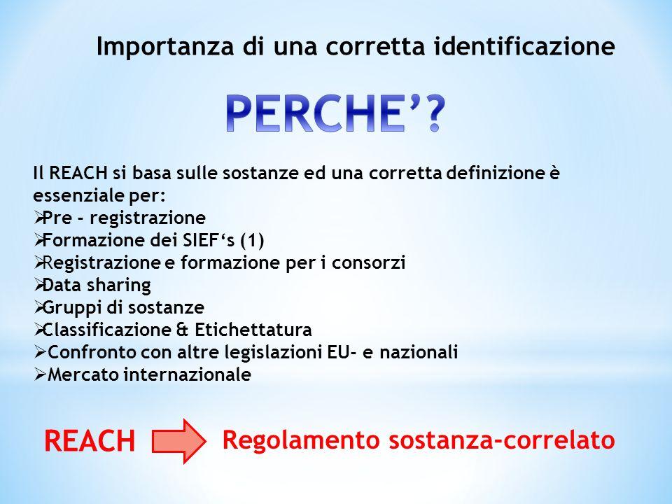 Il REACH si basa sulle sostanze ed una corretta definizione è essenziale per: Pre - registrazione Formazione dei SIEFs (1) Registrazione e formazione