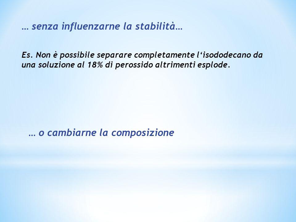 … senza influenzarne la stabilità… Es. Non è possibile separare completamente lisododecano da una soluzione al 18% di perossido altrimenti esplode. …