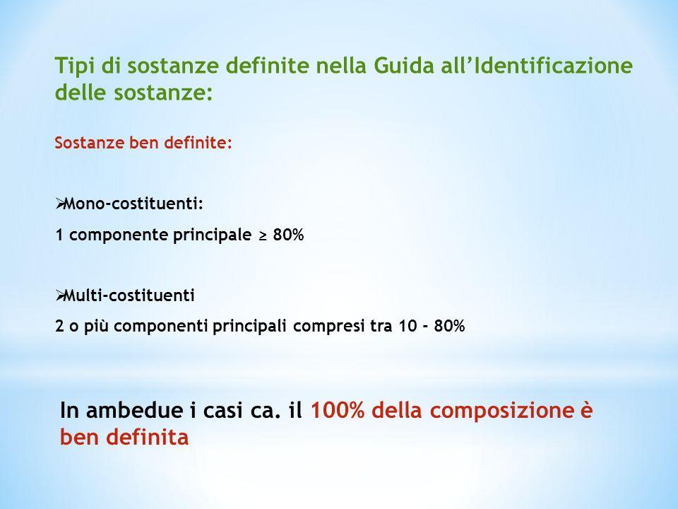 Tipi di sostanze definite nella Guida allIdentificazione delle sostanze: Sostanze ben definite: Mono-costituenti: 1 componente principale 80% Multi-co