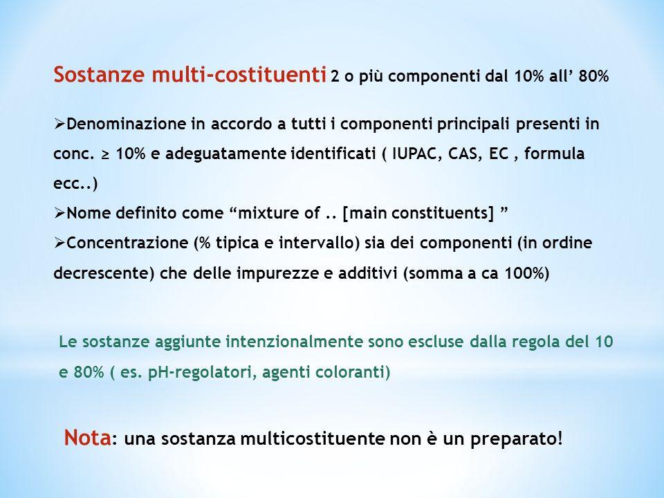 Sostanze multi-costituenti 2 o più componenti dal 10% all 80% Denominazione in accordo a tutti i componenti principali presenti in conc. 10% e adeguat
