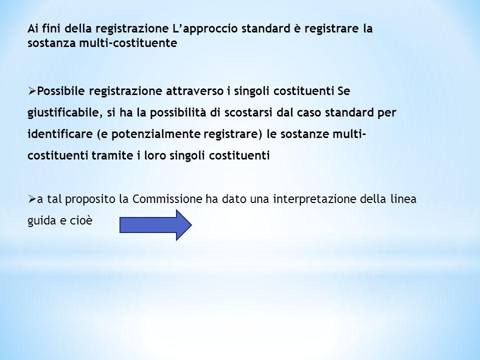 Ai fini della registrazione Lapproccio standard è registrare la sostanza multi-costituente Possibile registrazione attraverso i singoli costituenti Se