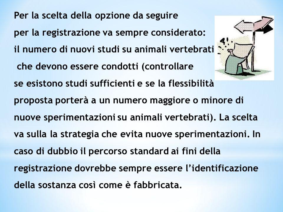 Per la scelta della opzione da seguire per la registrazione va sempre considerato: il numero di nuovi studi su animali vertebrati che devono essere co