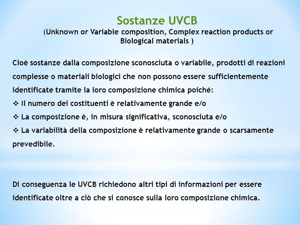 Cioè sostanze dalla composizione sconosciuta o variabile, prodotti di reazioni complesse o materiali biologici che non possono essere sufficientemente