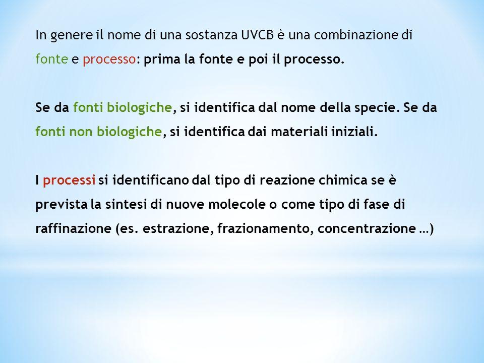 In genere il nome di una sostanza UVCB è una combinazione di fonte e processo: prima la fonte e poi il processo. Se da fonti biologiche, si identifica