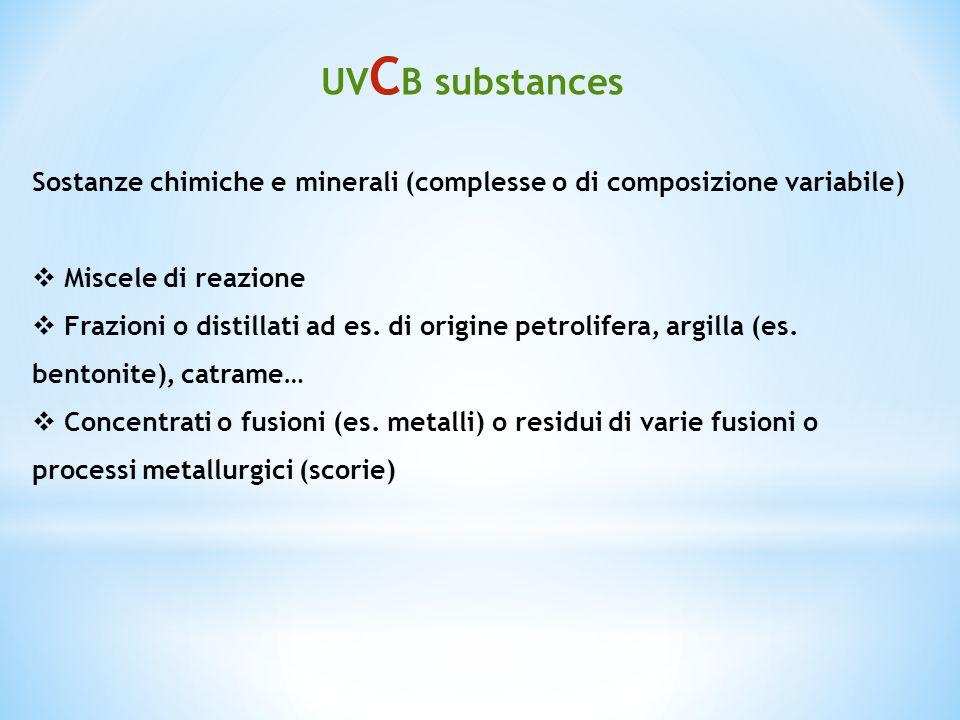 Sostanze chimiche e minerali (complesse o di composizione variabile) Miscele di reazione Frazioni o distillati ad es. di origine petrolifera, argilla