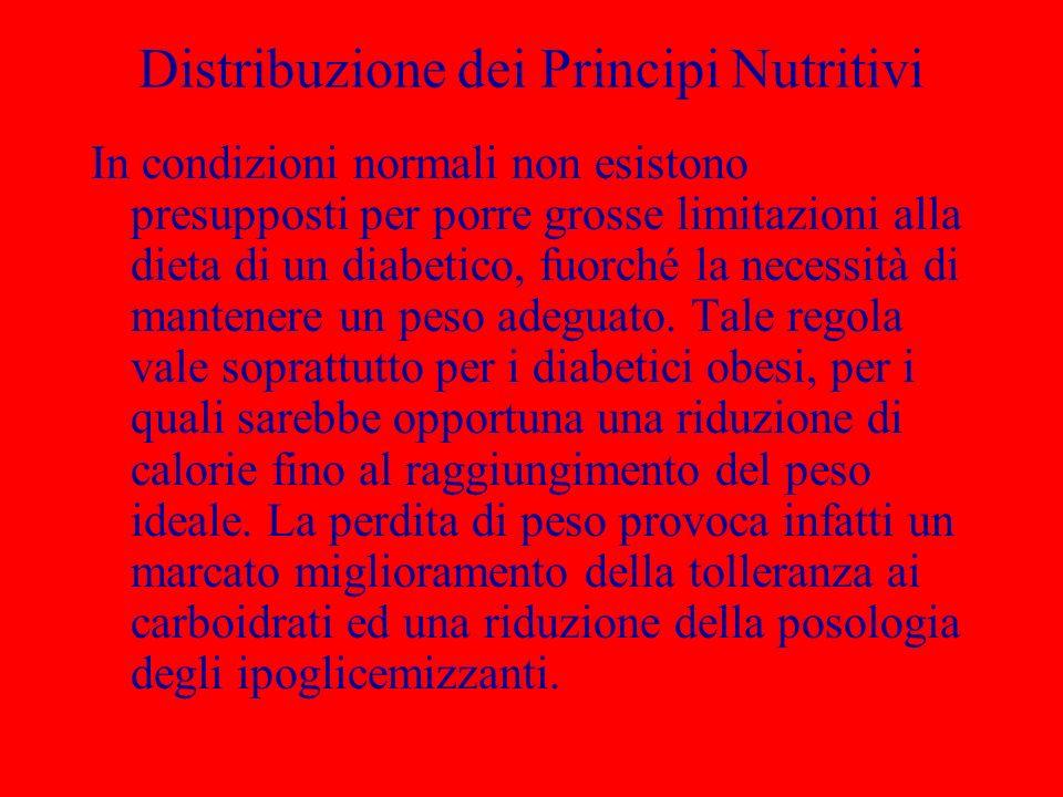 Distribuzione dei Principi Nutritivi In condizioni normali non esistono presupposti per porre grosse limitazioni alla dieta di un diabetico, fuorché la necessità di mantenere un peso adeguato.