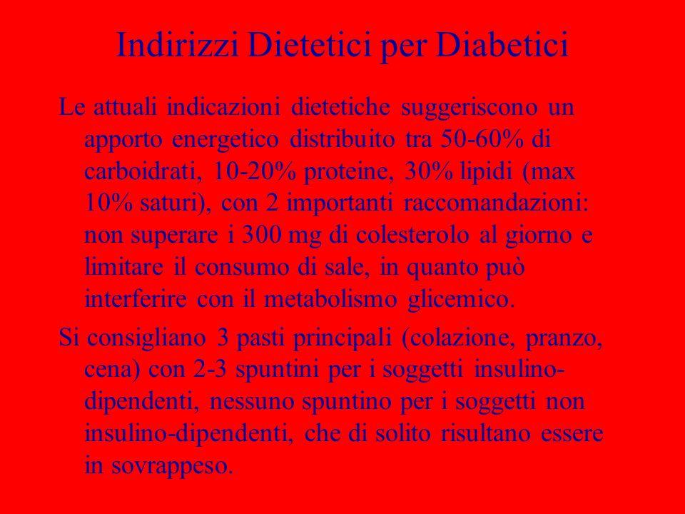 Indirizzi Dietetici per Diabetici Le attuali indicazioni dietetiche suggeriscono un apporto energetico distribuito tra 50-60% di carboidrati, 10-20% proteine, 30% lipidi (max 10% saturi), con 2 importanti raccomandazioni: non superare i 300 mg di colesterolo al giorno e limitare il consumo di sale, in quanto può interferire con il metabolismo glicemico.