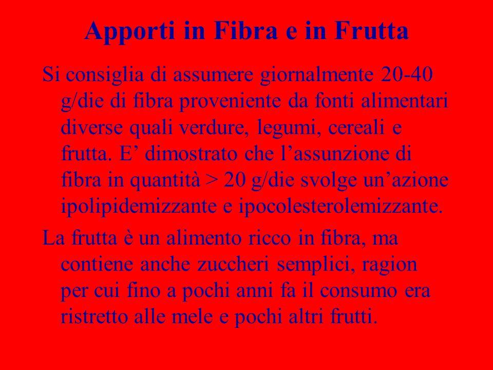 Apporti in Fibra e in Frutta Si consiglia di assumere giornalmente 20-40 g/die di fibra proveniente da fonti alimentari diverse quali verdure, legumi, cereali e frutta.