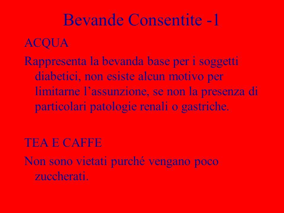 Bevande Consentite -1 ACQUA Rappresenta la bevanda base per i soggetti diabetici, non esiste alcun motivo per limitarne lassunzione, se non la presenza di particolari patologie renali o gastriche.