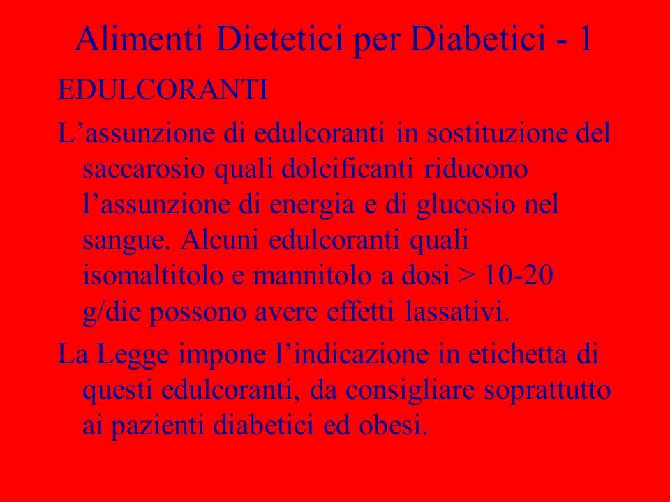 Alimenti Dietetici per Diabetici - 1 EDULCORANTI Lassunzione di edulcoranti in sostituzione del saccarosio quali dolcificanti riducono lassunzione di energia e di glucosio nel sangue.