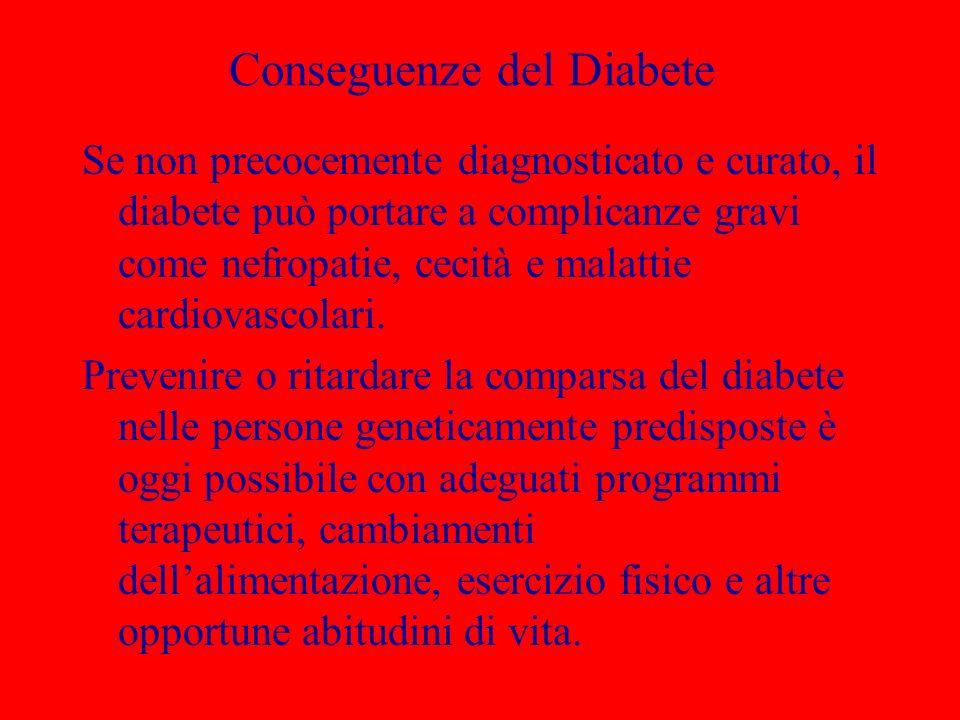 Conseguenze del Diabete Se non precocemente diagnosticato e curato, il diabete può portare a complicanze gravi come nefropatie, cecità e malattie card