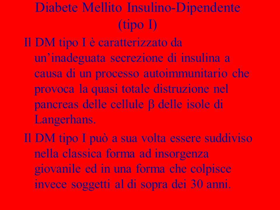 Diabete Mellito Insulino-Dipendente (tipo I) Il DM tipo I è caratterizzato da uninadeguata secrezione di insulina a causa di un processo autoimmunitario che provoca la quasi totale distruzione nel pancreas delle cellule delle isole di Langerhans.