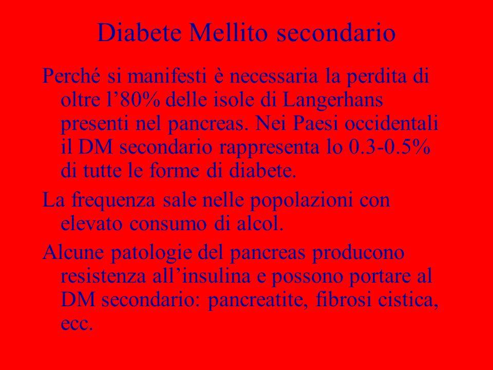 Diabete Mellito secondario Perché si manifesti è necessaria la perdita di oltre l80% delle isole di Langerhans presenti nel pancreas.