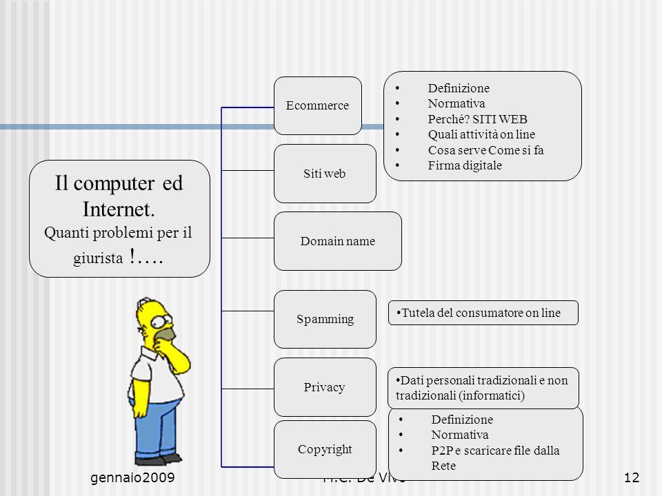 gennaio2009M.C. De Vivo12 Il computer ed Internet. Quanti problemi per il giurista !…. Ecommerce Siti web Domain name Spamming Privacy Copyright Defin