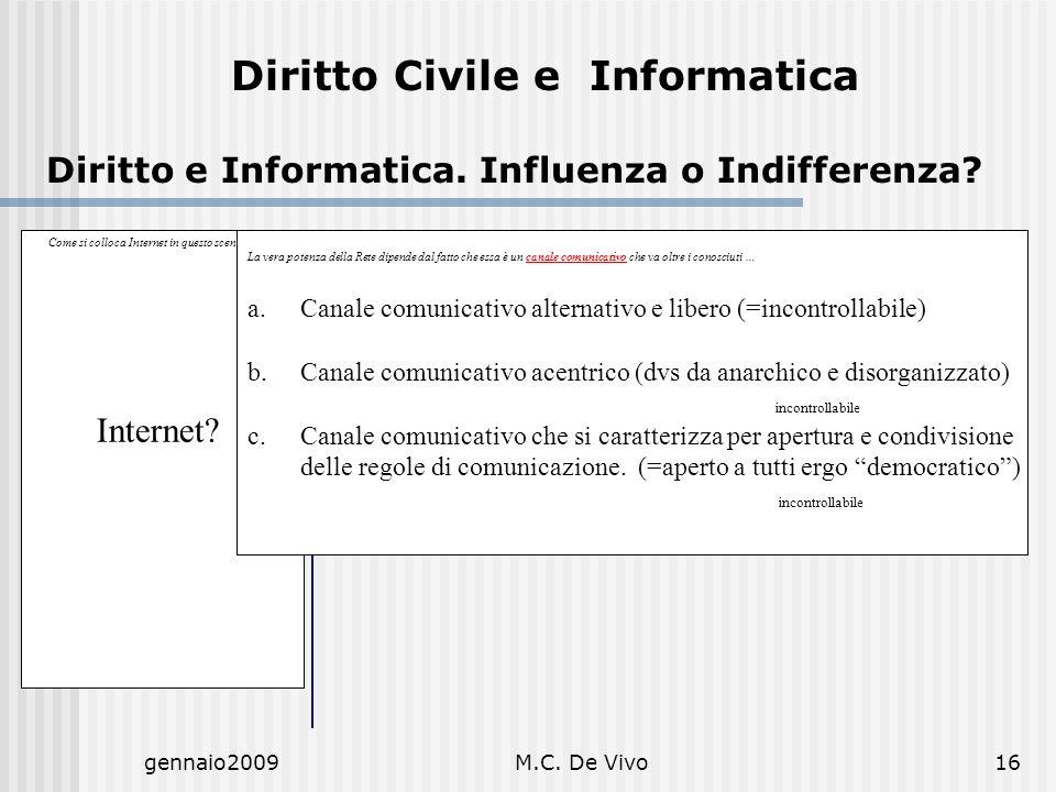 gennaio2009M.C. De Vivo16 Diritto Civile e Informatica Diritto e Informatica. Influenza o Indifferenza? Come si colloca Internet in questo scenario? …