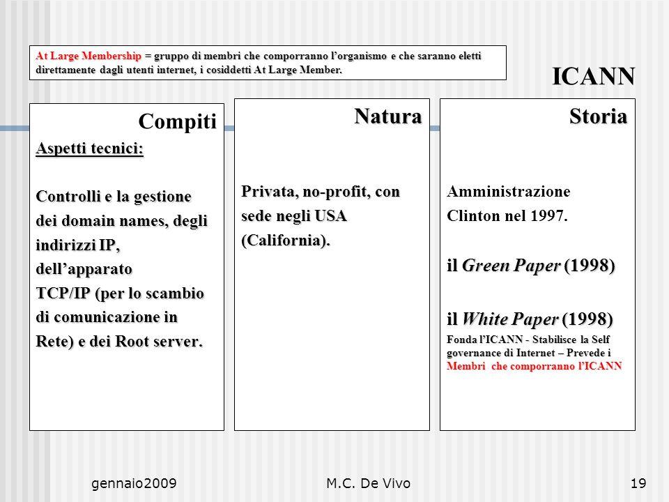 gennaio2009M.C. De Vivo19 Compiti Aspetti tecnici: Controlli e la gestione dei domain names, degli indirizzi IP, dellapparato TCP/IP (per lo scambio d