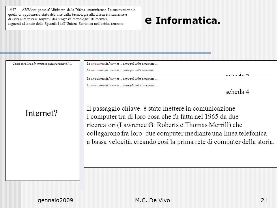 gennaio2009M.C. De Vivo21 Diritto Civile e Informatica. Come si colloca Internet in questo scenario? … Internet? La vera storia di Internet … come più