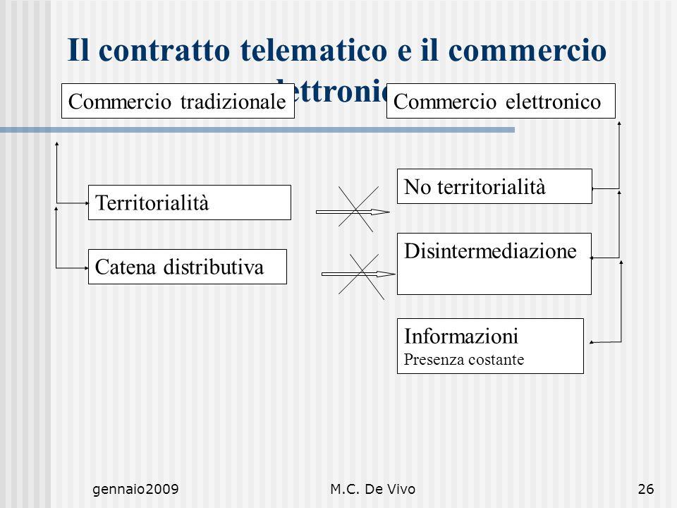 gennaio2009M.C. De Vivo26 Il contratto telematico e il commercio elettronico Commercio tradizionaleCommercio elettronico Territorialità Informazioni P