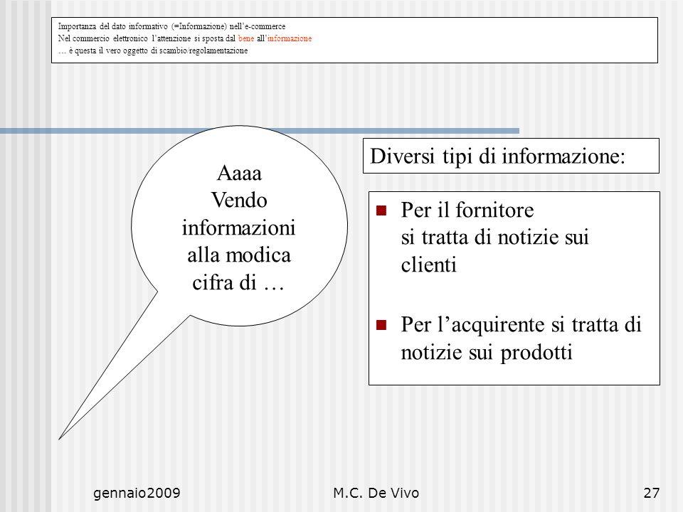 gennaio2009M.C. De Vivo27 Aaaa Vendo informazioni alla modica cifra di … Per il fornitore si tratta di notizie sui clienti Per lacquirente si tratta d