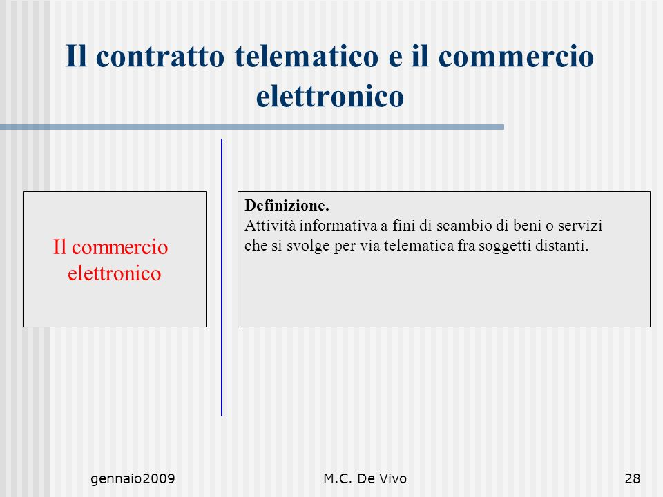 gennaio2009M.C. De Vivo28 Definizione. Attività informativa a fini di scambio di beni o servizi che si svolge per via telematica fra soggetti distanti