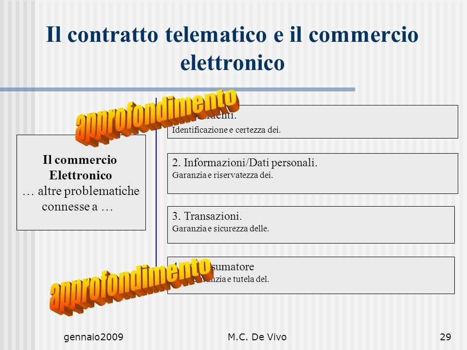 gennaio2009M.C. De Vivo29 Il commercio Elettronico … altre problematiche connesse a … 2. Informazioni/Dati personali. Garanzia e riservatezza dei. 3.