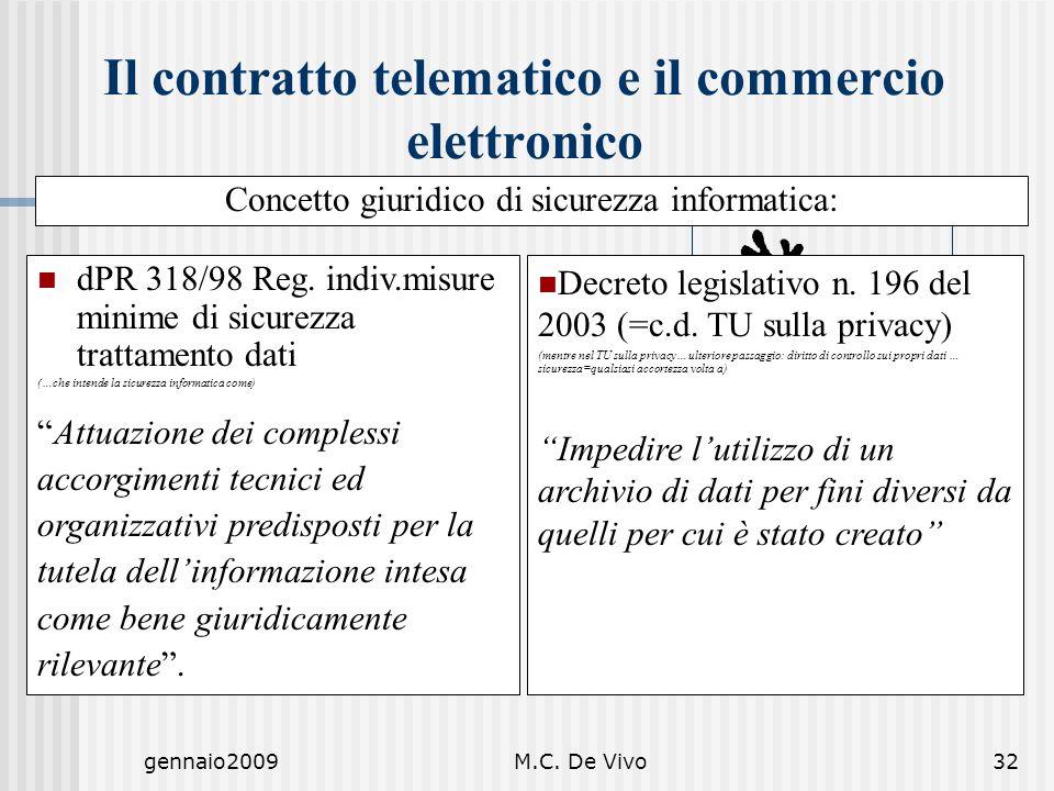 gennaio2009M.C. De Vivo32 Decreto legislativo n. 196 del 2003 (=c.d. TU sulla privacy) (mentre nel TU sulla privacy… ulteriore passaggio: diritto di c
