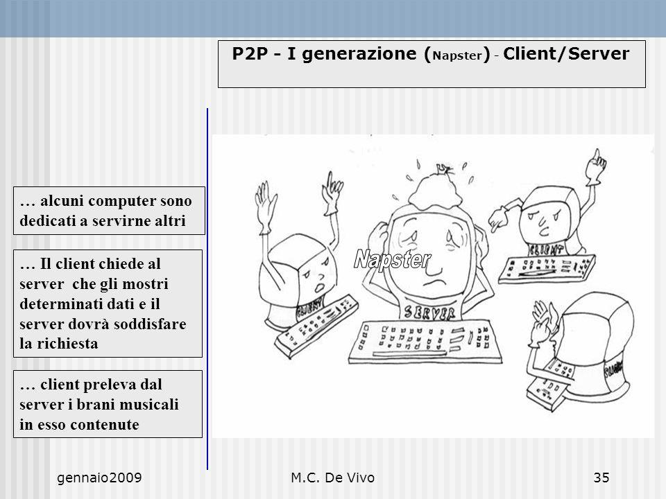 gennaio2009M.C. De Vivo35 P2P - I generazione ( Napster ) - Client/Server … client preleva dal server i brani musicali in esso contenute … Il client c