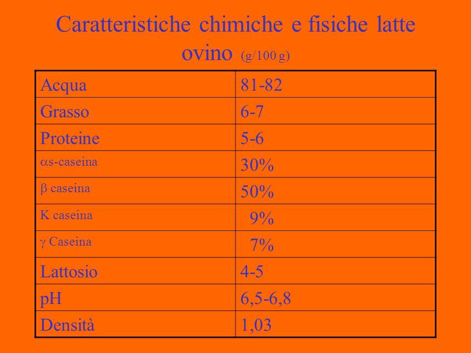Caratteristiche chimiche e fisiche latte ovino (g/100 g) Acqua81-82 Grasso6-7 Proteine5-6 s-caseina 30% caseina 50% K caseina 9% Caseina 7% Lattosio4-5 pH6,5-6,8 Densità1,03