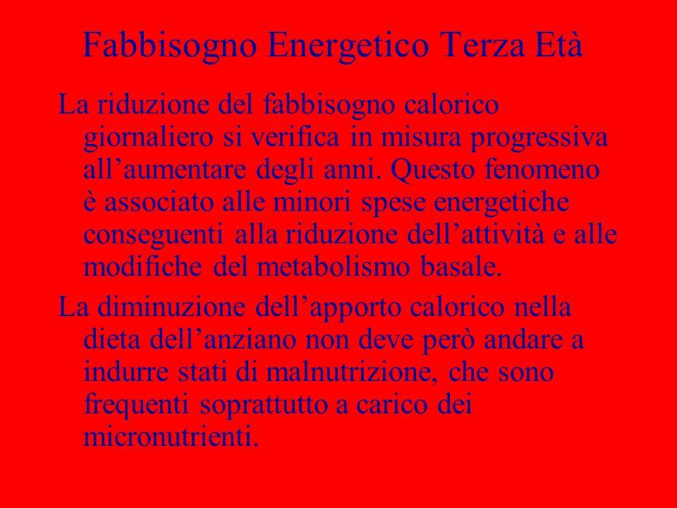 Fabbisogno Energetico Terza Età La riduzione del fabbisogno calorico giornaliero si verifica in misura progressiva allaumentare degli anni.
