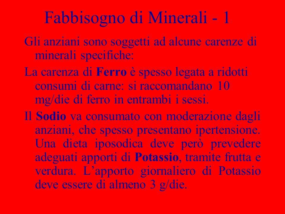 Fabbisogno di Minerali - 1 Gli anziani sono soggetti ad alcune carenze di minerali specifiche: La carenza di Ferro è spesso legata a ridotti consumi di carne: si raccomandano 10 mg/die di ferro in entrambi i sessi.