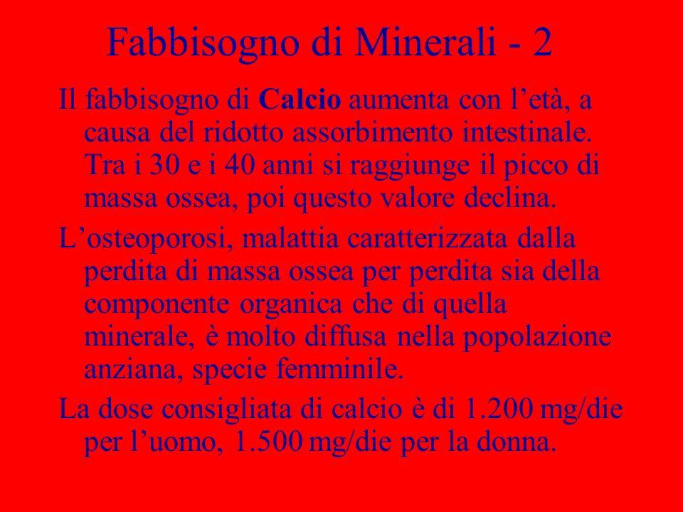 Fabbisogno di Minerali - 2 Il fabbisogno di Calcio aumenta con letà, a causa del ridotto assorbimento intestinale.