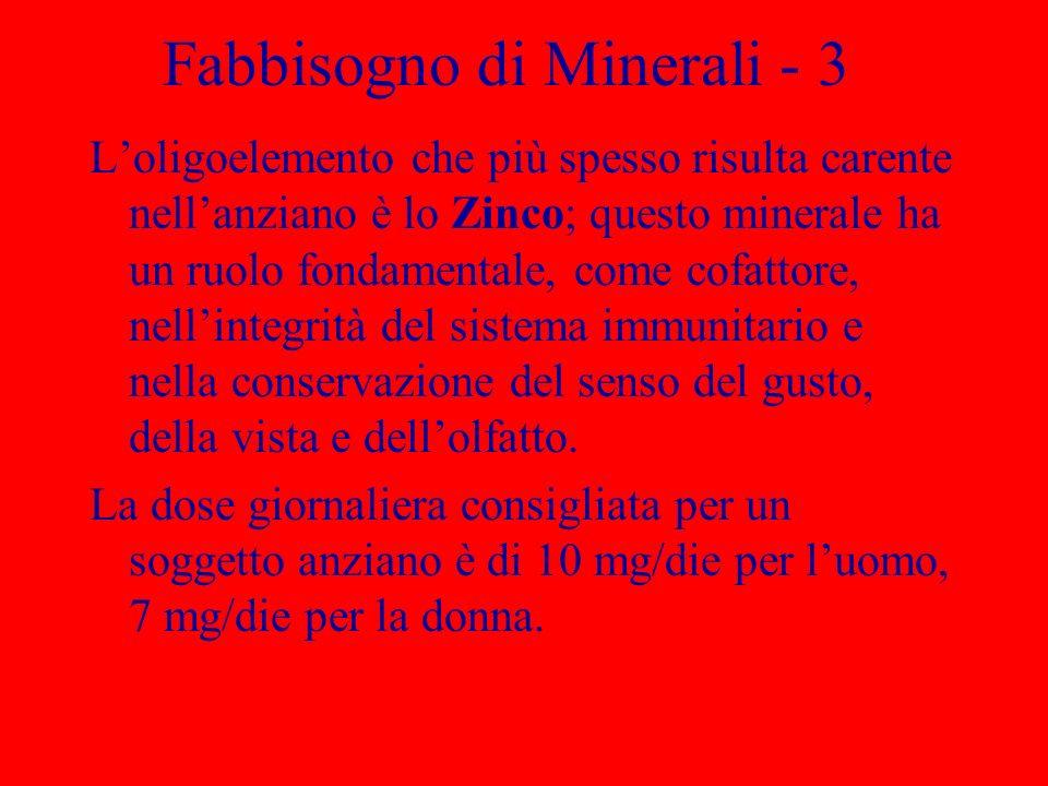 Fabbisogno di Minerali - 3 Loligoelemento che più spesso risulta carente nellanziano è lo Zinco; questo minerale ha un ruolo fondamentale, come cofattore, nellintegrità del sistema immunitario e nella conservazione del senso del gusto, della vista e dellolfatto.