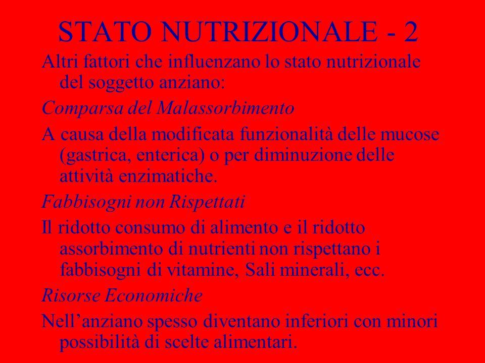 STATO NUTRIZIONALE - 2 Altri fattori che influenzano lo stato nutrizionale del soggetto anziano: Comparsa del Malassorbimento A causa della modificata funzionalità delle mucose (gastrica, enterica) o per diminuzione delle attività enzimatiche.