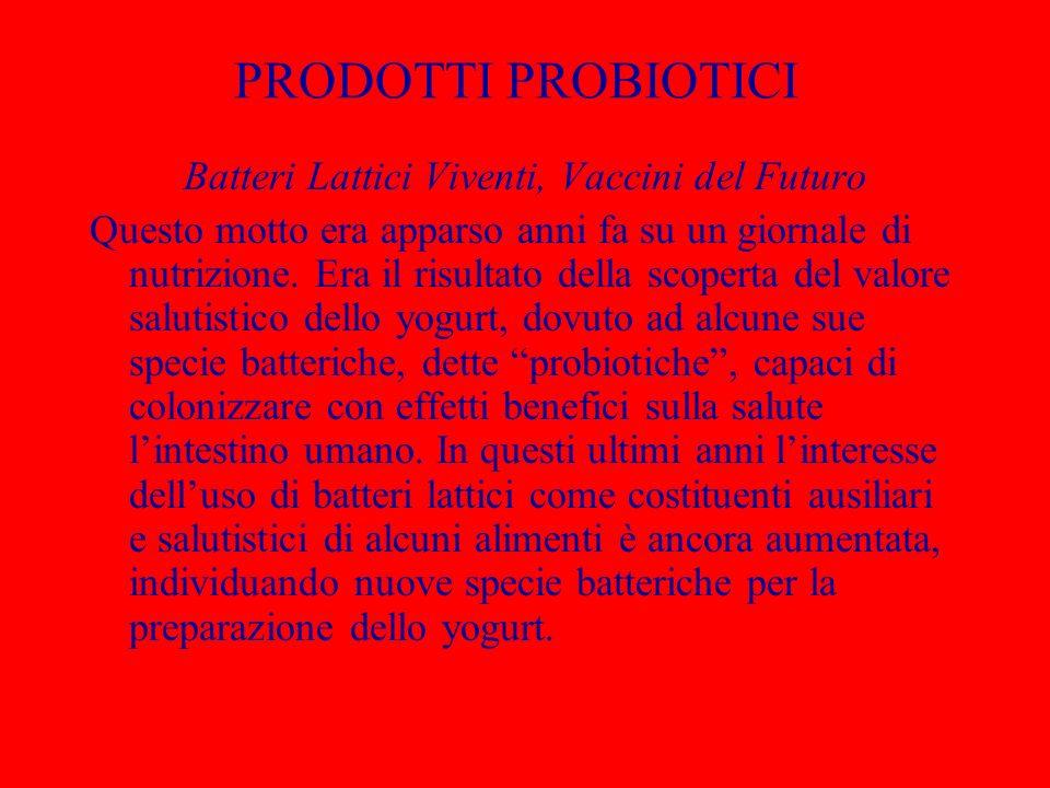 PRODOTTI PROBIOTICI Batteri Lattici Viventi, Vaccini del Futuro Questo motto era apparso anni fa su un giornale di nutrizione. Era il risultato della