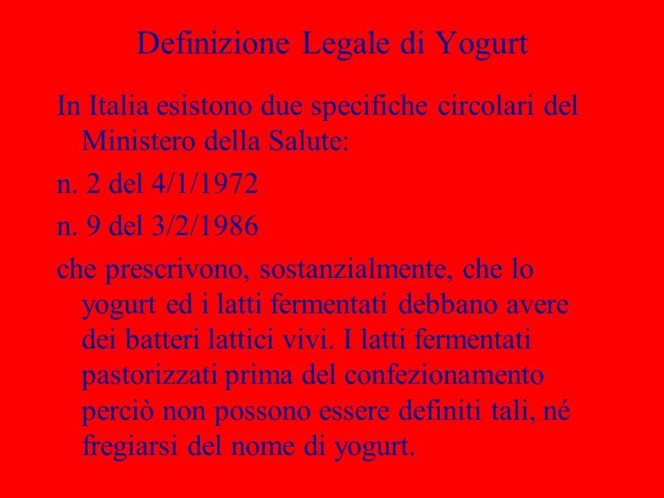 Definizione Legale di Yogurt In Italia esistono due specifiche circolari del Ministero della Salute: n. 2 del 4/1/1972 n. 9 del 3/2/1986 che prescrivo
