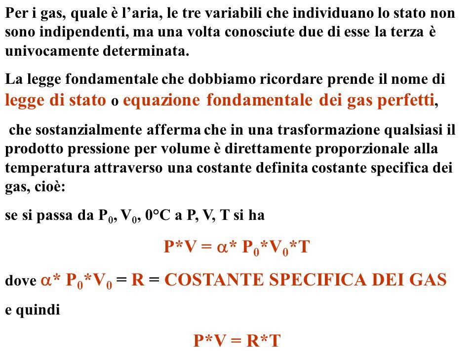 Per i gas, quale è laria, le tre variabili che individuano lo stato non sono indipendenti, ma una volta conosciute due di esse la terza è univocamente determinata.