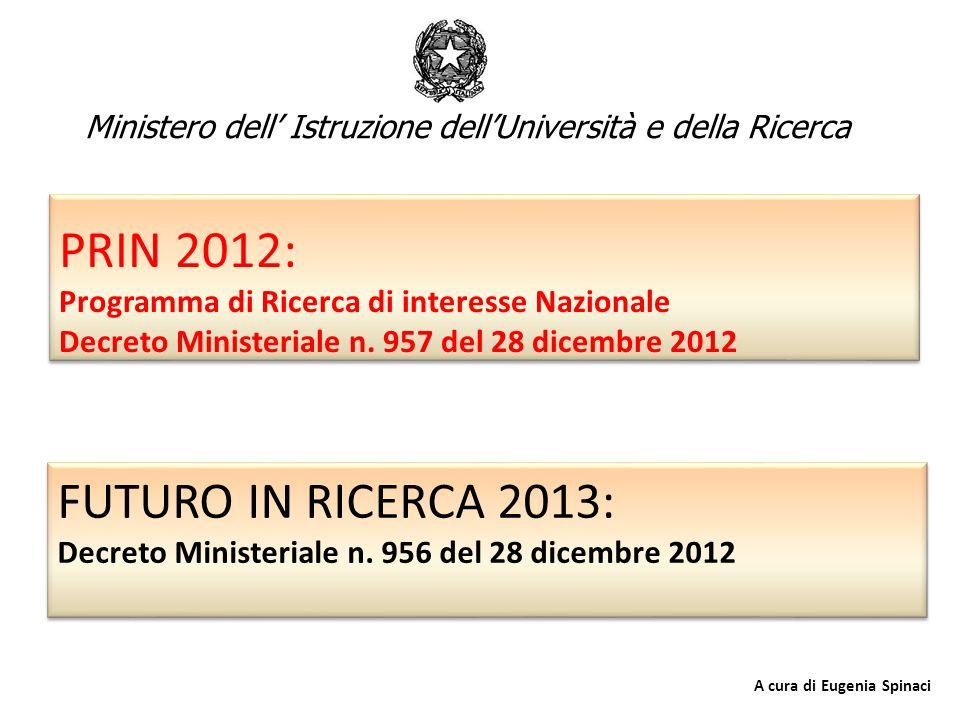 PRIN 2012: Programma di Ricerca di interesse Nazionale Decreto Ministeriale n. 957 del 28 dicembre 2012 FUTURO IN RICERCA 2013: Decreto Ministeriale n
