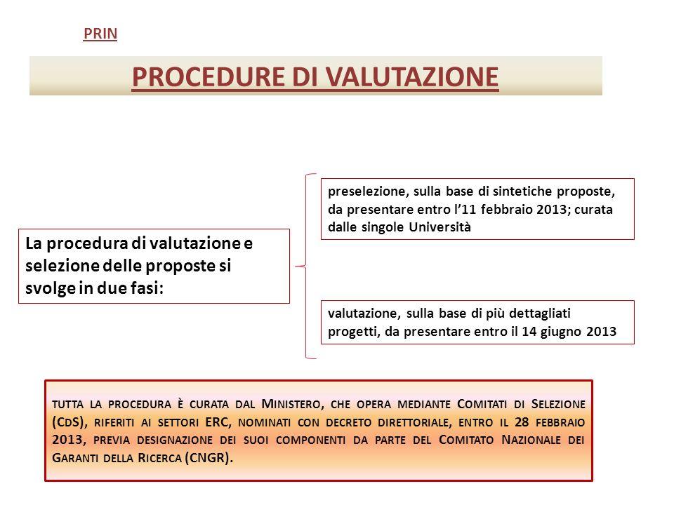 PROCEDURE DI VALUTAZIONE PRIN La procedura di valutazione e selezione delle proposte si svolge in due fasi: preselezione, sulla base di sintetiche proposte, da presentare entro l11 febbraio 2013; curata dalle singole Università valutazione, sulla base di più dettagliati progetti, da presentare entro il 14 giugno 2013 TUTTA LA PROCEDURA È CURATA DAL M INISTERO, CHE OPERA MEDIANTE C OMITATI DI S ELEZIONE (C D S), RIFERITI AI SETTORI ERC, NOMINATI CON DECRETO DIRETTORIALE, ENTRO IL 28 FEBBRAIO 2013, PREVIA DESIGNAZIONE DEI SUOI COMPONENTI DA PARTE DEL C OMITATO N AZIONALE DEI G ARANTI DELLA R ICERCA (CNGR).