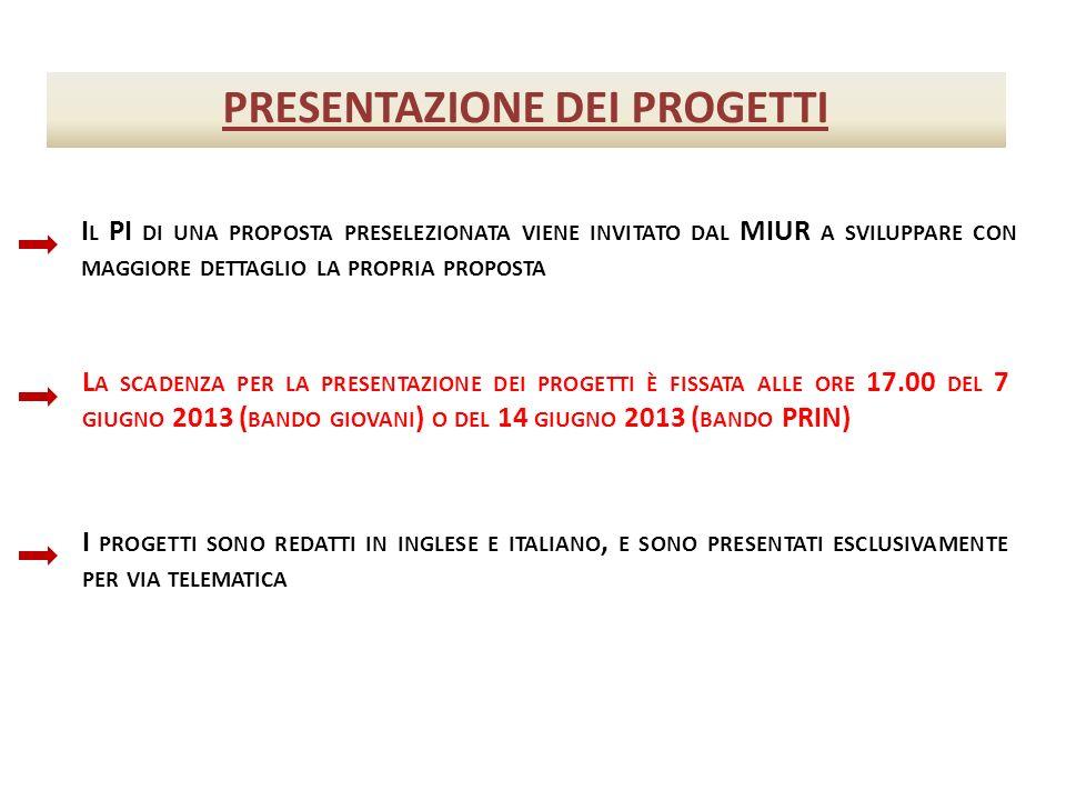 PRESENTAZIONE DEI PROGETTI I L PI DI UNA PROPOSTA PRESELEZIONATA VIENE INVITATO DAL MIUR A SVILUPPARE CON MAGGIORE DETTAGLIO LA PROPRIA PROPOSTA L A SCADENZA PER LA PRESENTAZIONE DEI PROGETTI È FISSATA ALLE ORE 17.00 DEL 7 GIUGNO 2013 ( BANDO GIOVANI ) O DEL 14 GIUGNO 2013 ( BANDO PRIN) I PROGETTI SONO REDATTI IN INGLESE E ITALIANO, E SONO PRESENTATI ESCLUSIVAMENTE PER VIA TELEMATICA