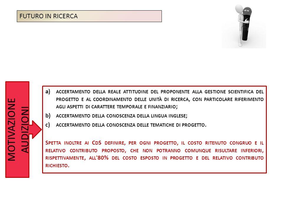 a) ACCERTAMENTO DELLA REALE ATTITUDINE DEL PROPONENTE ALLA GESTIONE SCIENTIFICA DEL PROGETTO E AL COORDINAMENTO DELLE UNITÀ DI RICERCA, CON PARTICOLARE RIFERIMENTO AGLI ASPETTI DI CARATTERE TEMPORALE E FINANZIARIO ; b) ACCERTAMENTO DELLA CONOSCENZA DELLA LINGUA INGLESE ; c) ACCERTAMENTO DELLA CONOSCENZA DELLE TEMATICHE DI PROGETTO.