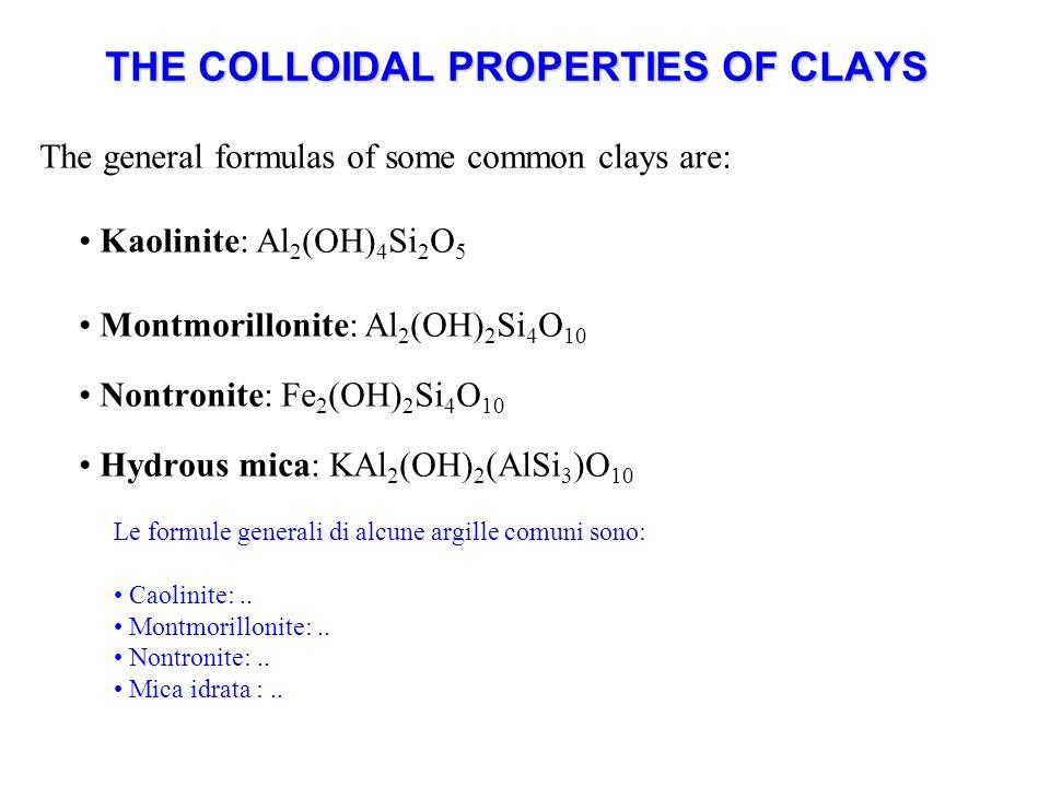 THE COLLOIDAL PROPERTIES OF CLAYS The general formulas of some common clays are: Kaolinite: Al 2 (OH) 4 Si 2 O 5 Montmorillonite: Al 2 (OH) 2 Si 4 O 10 Nontronite: Fe 2 (OH) 2 Si 4 O 10 Hydrous mica: KAl 2 (OH) 2 (AlSi 3 )O 10 Le formule generali di alcune argille comuni sono: Caolinite:..