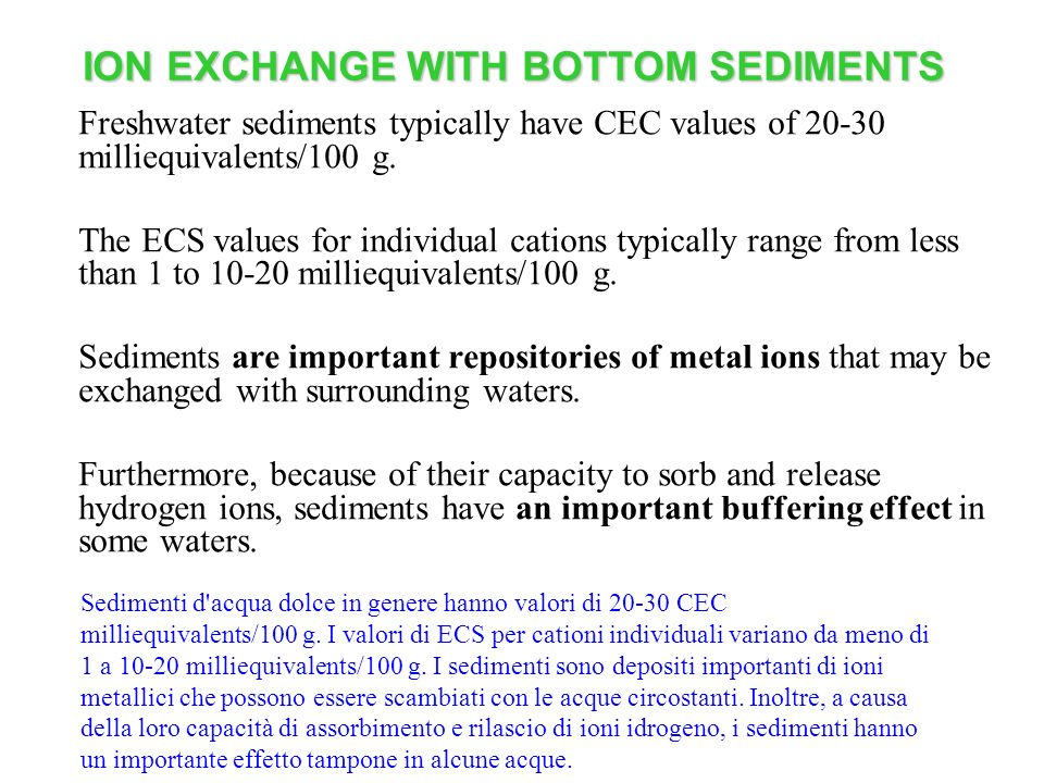 ION EXCHANGE WITH BOTTOM SEDIMENTS Freshwater sediments typically have CEC values of 20-30 milliequivalents/100 g.