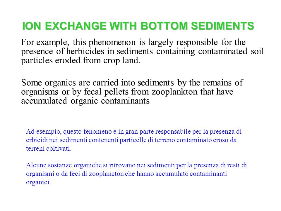 ION EXCHANGE WITH BOTTOM SEDIMENTS For example, this phenomenon is largely responsible for the presence of herbicides in sediments containing contamin