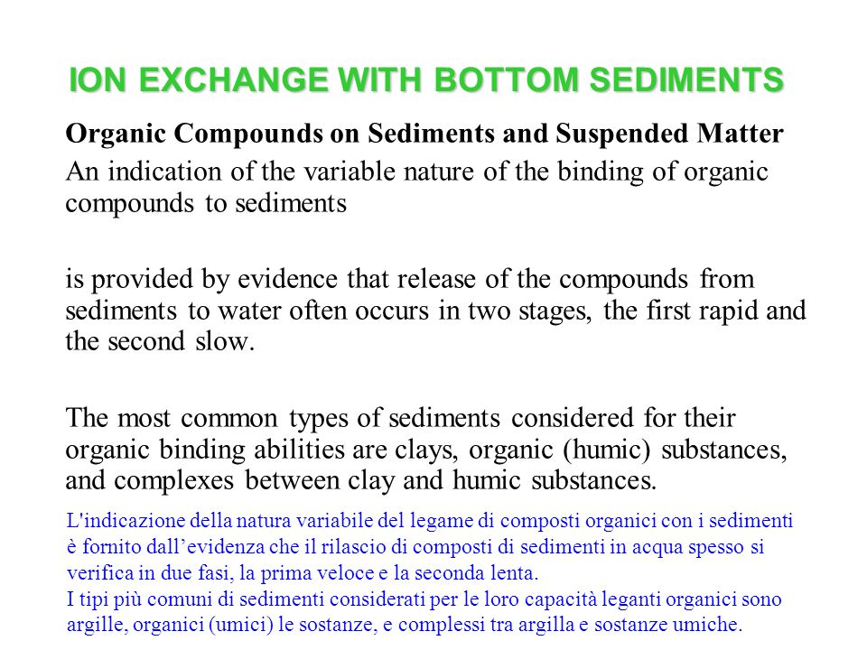 ION EXCHANGE WITH BOTTOM SEDIMENTS Organic Compounds on Sediments and Suspended Matter An indication of the variable nature of the binding of organic