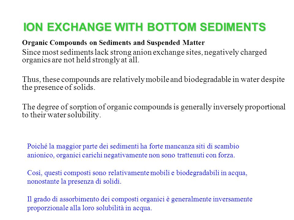 ION EXCHANGE WITH BOTTOM SEDIMENTS Organic Compounds on Sediments and Suspended Matter Since most sediments lack strong anion exchange sites, negatively charged organics are not held strongly at all.