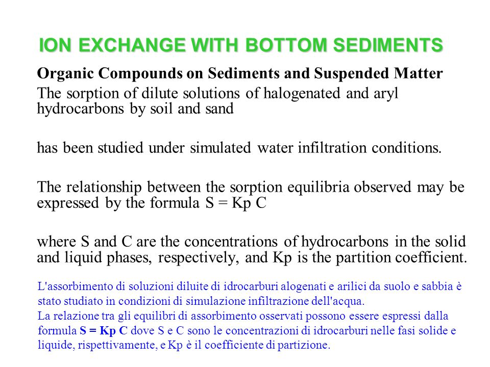 ION EXCHANGE WITH BOTTOM SEDIMENTS Organic Compounds on Sediments and Suspended Matter The sorption of dilute solutions of halogenated and aryl hydroc