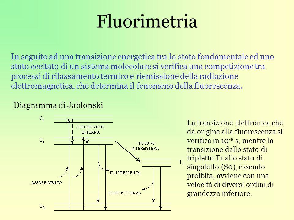 Fluorimetria Diagramma di Jablonski In seguito ad una transizione energetica tra lo stato fondamentale ed uno stato eccitato di un sistema molecolare si verifica una competizione tra processi di rilassamento termico e riemissione della radiazione elettromagnetica, che determina il fenomeno della fluorescenza.
