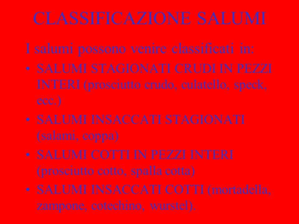 CLASSIFICAZIONE SALUMI I salumi possono venire classificati in: SALUMI STAGIONATI CRUDI IN PEZZI INTERI (prosciutto crudo, culatello, speck, ecc.) SAL